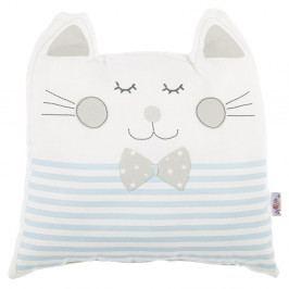 Modrý dětský polštářek s příměsí bavlny Apolena Pillow Toy Big Cat, 29 x 29 cm
