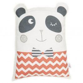 Červený dětský polštářek s příměsí bavlny Apolena Pillow Toy Panda, 25 x 36 cm