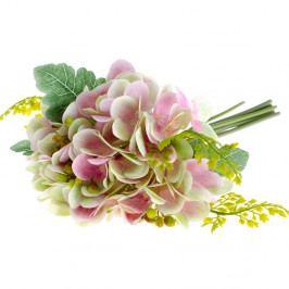 Růžová umělá květina ve stylu hortenzie s kapradím Dakls