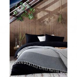 Šedý bavlněný přehoz přes postel Galina Black White, 220 x 240 cm