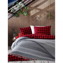 Šedý bavlněný přehoz přes postel Galina Grey White, 220 x 240 cm