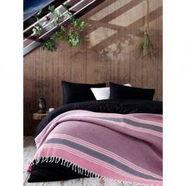 Růžový bavlněný přehoz přes postel Galina Pink Red White, 220 x 240 cm