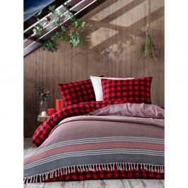 Růžovo-šedý bavlněný přehoz přes postel Galina Black Red White, 220 x 240 cm
