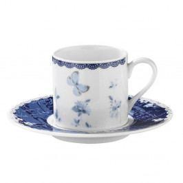 Sada 6 porcelánových šálků s podšálky Kutahya Floral, 50 ml