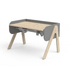 Šedo-hnědý psací stůl z borovicového dřeva s nastavitelnou výškou Flexa Woody