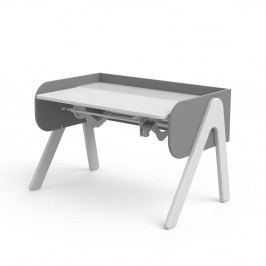 Šedo-bílý psací stůl z borovicového dřeva s nastavitelnou výškou Flexa Woody