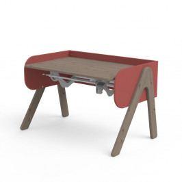 Tmavě hnědo-červený psací stůl z borovicového dřeva s nastavitelnou výškou Flexa Woody