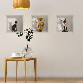 Sada 3 3D samolepek na zeď Ambiance Egyptian Statuettes
