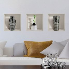 Sada 3 3D samolepek na zeď Ambiance Modern Vases