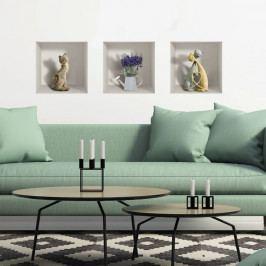 Sada 3 3D samolepek na zeď Ambiance Cats and Lilac