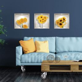 Sada 3 3D samolepek na zeď Ambiance Sunflowers
