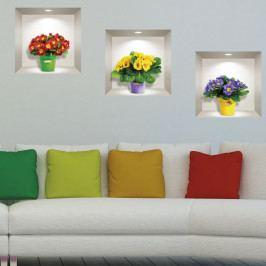 Sada 3 3D samolepek na zeď Ambiance Field Flowers
