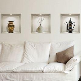 Sada 3 3D samolepek na zeď Ambiance Decorative Objects