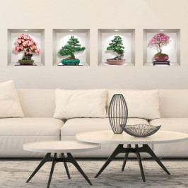 Sada 4 3D samolepek na zeď Ambiance Bonsai of Seasons