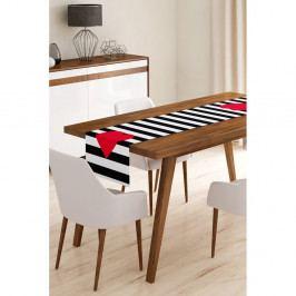 Běhoun na stůl z mikrovlákna Minimalist Cushion Covers Stripes with Red Heart, 45x145cm