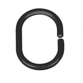 Sada 12 černých kroužků na tyč ke sprchovému závěsu Wenko Shower Hooks