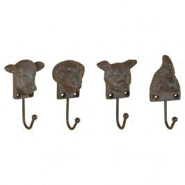 Sada 4 litinových nástěnných háčků ve tvaru zvířat Esschert Design