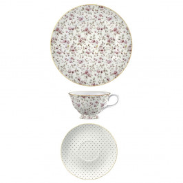 Porcelánový šálek s podšálkem a dezertní talíř Creative Tops Ditsy Floral