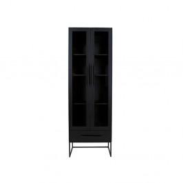 Černá vitrína Canett Klint, výška 205cm