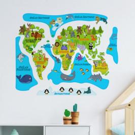Nástěnná samolepka Ambiance Colored Baby World Map