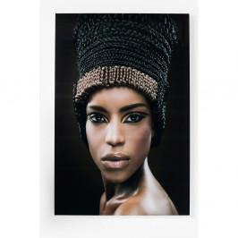 Zasklený obraz Kare Design Royal Headdress Face, 100 x 150 cm