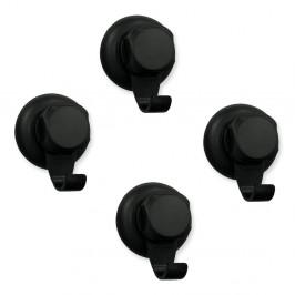 Sada 4 černých samodržících nástěnných háčků Compactor Bestlock Black Small Hooks, ⌀ 5,4 cm