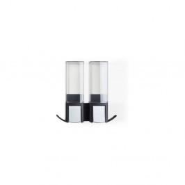 Černý nástěnný samodržící dvojitý dávkovač na mýdlo Compactor Clevek Double Dispenser