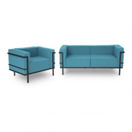 Set zahradního nábytku pro 3 osoby v modré barvě a černém rámu Calme Jardin Cannes