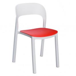 Sada 4 bílých zahradních židlí s červeným sedákem Resol Ona