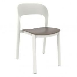 Sada 4 bílých zahradních židlí s hnědým sedákem Resol Ona