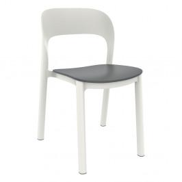 Sada 4 bílých zahradních židlí s šedým sedákem Resol Ona
