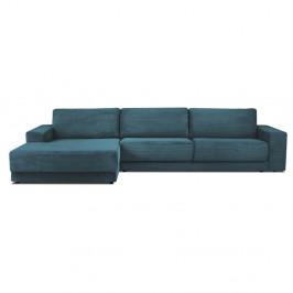 Modrá manšestrová XXL pětimístná rozkládací pohovka Milo Casa Donatella, levý roh