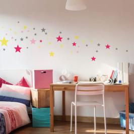 Sada 50 nástěnných samolepek Ambiance Stars Pink and Yellow