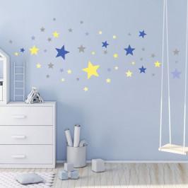 Sada 50 nástěnných samolepek Ambiance Stars Blue and Yellow