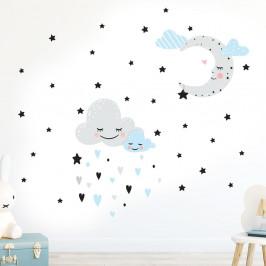 Modrá nnástěnná samolepka Ambiance Moon And Clouds Love In The Stars
