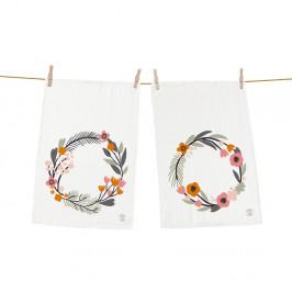 Set 2 kusů utěrek Butter Kings z bavlny Floral Wreath, 70 x 50 cm