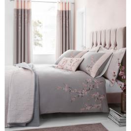 Růžovo-šedý prošívaný přehoz na postel Catherine Lansfield Blossom, 240x260cm