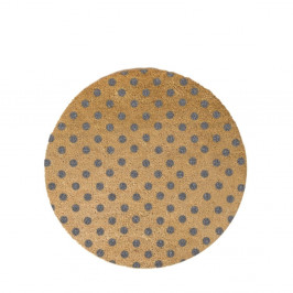 Šedá kulatá rohožka z přírodního kokosového vlákna Artsy Doormats Dots, ⌀70cm