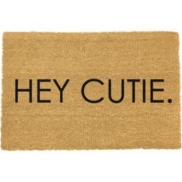 Černá rohožka z přírodního kokosového vlákna Artsy Doormats Hey Cutie,40x60cm