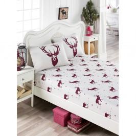 Set povlečení a povlaku na polštář s příměsí bavlny na jednolůžko EnLora Home Geyik Claret Red, 100 x 200 cm