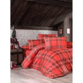 Červené povlečení na jednolůžko z ranforce bavlny Victoria Linda, 140 x 200 cm