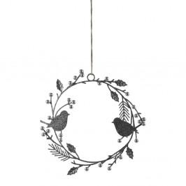 Závěsný dekorativní věnec s ptáčky ve stříbrné barvě Ego Dekor