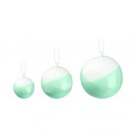 Sada 3 zelených vánočních ozdob na stromeček z kostního porcelánu Kähler Design Nobili