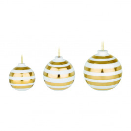 Sada 3 bílých keramických vánočních ozdob na stromeček s detaily ve zlaté barvě Kähler Design Omaggio