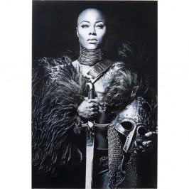 Zasklený černobílý obraz Kare Design Lady Knight, 150 x 100 cm