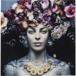 Zasklený obraz Kare Design Flower Art Lady, 120 x 120 cm