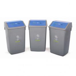 Sada tří recyklačních odpadkových košů s modrým víkem Addis, 41 x 33,5 x 68 cm