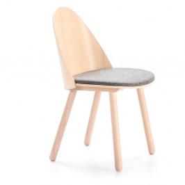 Přírodní židle s šedým podsedákem Teulat Uma