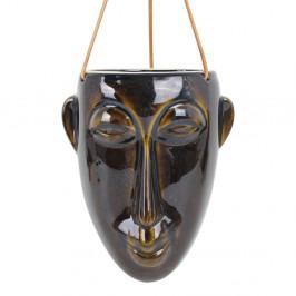 Tmavě hnědý závěsný květináč PT LIVING Mask, výška 22,3 cm