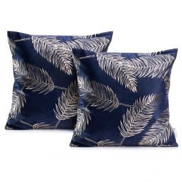 Sada 2 tmavě modrých povlaků na polštáře DecoKing Golden Leafes Dark Blue, 45 x 45 cm